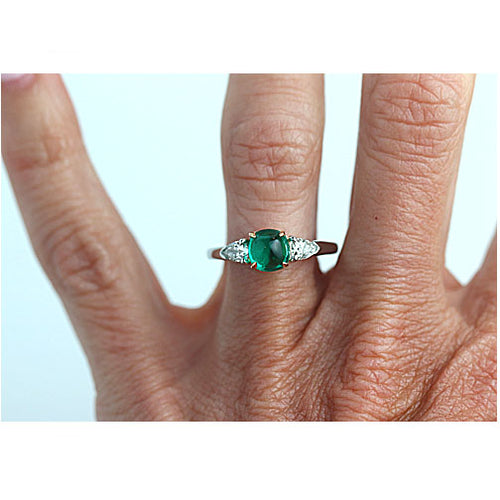 Vintage Columbian Emerald and Diamond Ring in Platinum