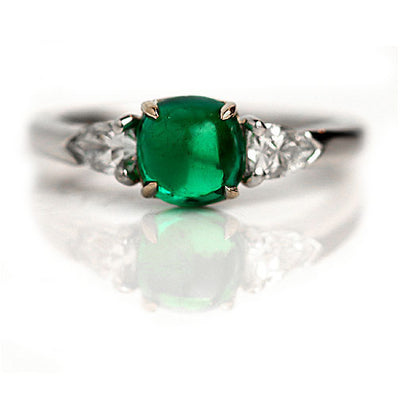 Emerald & Bullet Cut Diamond Engagement Ring