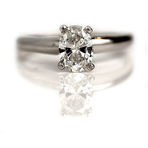 Vintage Oval Cut Diamond Engagement Ring .71 Carat GIA E-SI1