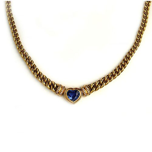 Vintage 2.50 Carat Heart Shaped Sapphire and Diamond Necklace