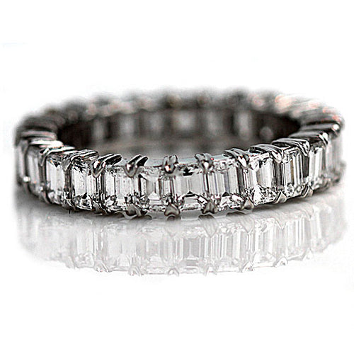 Estate Emerald Cut Diamond Eternity Band 4.00 Carat