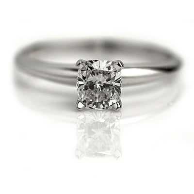 Vintage Cushion Cut Solitaire Engagement Ring