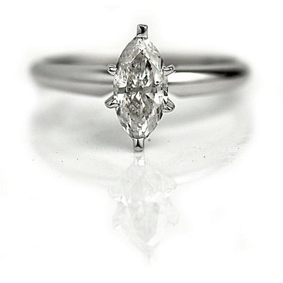 Marquis Cut Diamond Engagement RinLight Gray Salt & Pepper Marquis Cut Diamond Engagement Ring