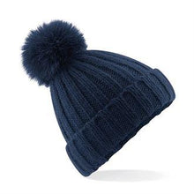Load image into Gallery viewer, Beechfield Luxury Verbier Pom Pom Beanie Navy BC413-Custom Teamwear