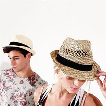 Load image into Gallery viewer, Rural Apparel Summer Festival Straw Trilby Hat - BrandClearance