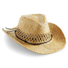Load image into Gallery viewer, Straw Summer Cowboy Hat Mens Beechfield BC735-Custom Teamwear