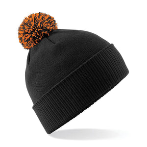 Beechfield Snowstar Beanie Wine Hat BC450 Black Orange