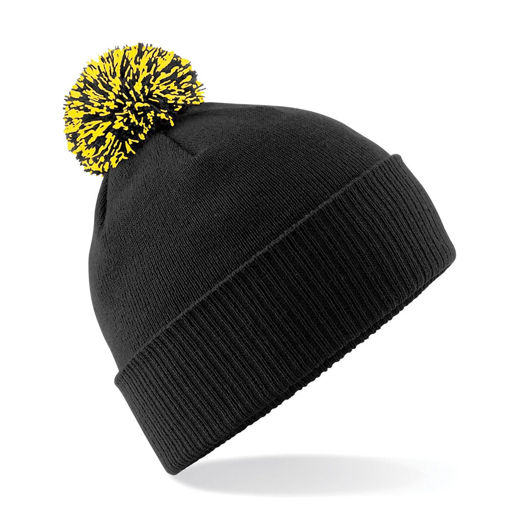 Beechfield Snowstar Beanie Wine Hat BC450 Black Yellow