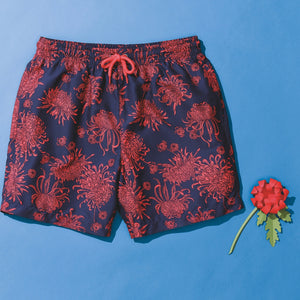 Wombat Swim Shorts Mens Fashion WB900 Navy Coral