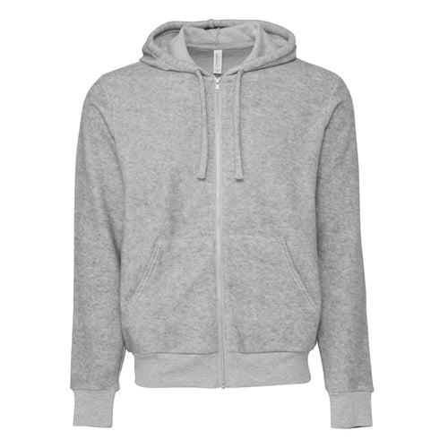 Bella & Cavas Unisex Suede Zip Jacket Hoody BE131 Grey-Custom Teamwear