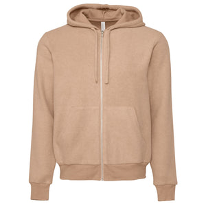 Bella & Cavas Unisex Suede Zip Jacket Hoody BE131 Oatmeal-Custom Teamwear