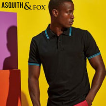 Load image into Gallery viewer, Asquith & Fox Classic Fit Tipped Collar Polo Shirt AQ011 Black Yellow-Custom Teamwear