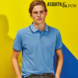 Asquith & Fox Classic Fit Tipped Collar Polo Shirt AQ011 Black Yellow-Custom Teamwear