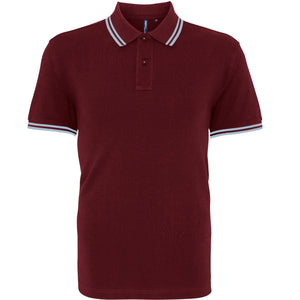 Asquith & Fox Classic Fit Tipped Collar Polo Shirt AQ011 Burgandy Sky-Custom Teamwear