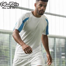 Load image into Gallery viewer, AWDis Just Cool Contrast Performance T-Shirt JC003 White/ Sapphire Blue-Custom Teamwear