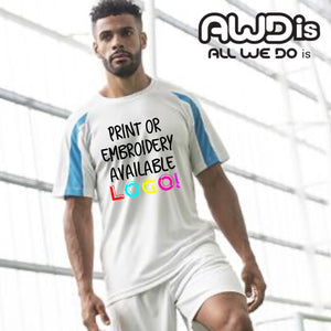 AWDis Just Cool Contrast Performance T-Shirt JC003 White/ Sapphire Blue-Custom Teamwear
