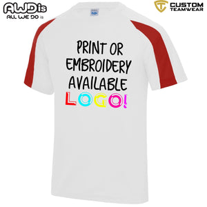 AWDis Just Cool Contrast Performance T-Shirt JC003 White/ Red-Custom Teamwear