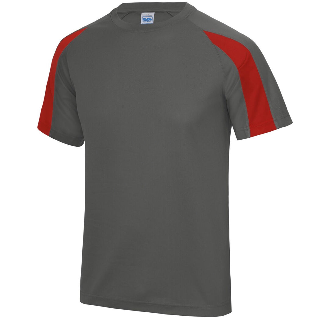 AWDis Just Cool Contrast Performance T-Shirt JC003 Charcoal/ Red-Custom Teamwear