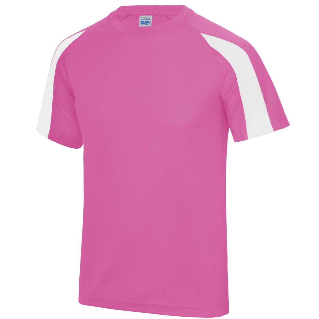 AWDis Just Cool Contrast Performance T-Shirt JC003 Pink/ White-Custom Teamwear