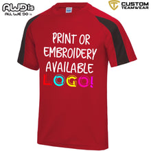 Load image into Gallery viewer, AWDis Just Cool Contrast Performance T-Shirt JC003 Red/ Black-Custom Teamwear