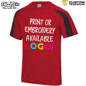 AWDis Just Cool Contrast Performance T-Shirt JC003 Red/ Black-Custom Teamwear
