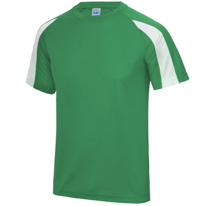 AWDis Just Cool Contrast Performance T-Shirt JC003 Kelly Green/ White-Custom Teamwear