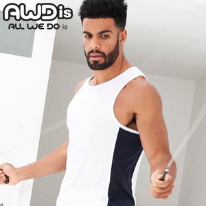 AWDis Just Cool Contrast Technical Training Vest JC008 White/ Navy-Custom Teamwear