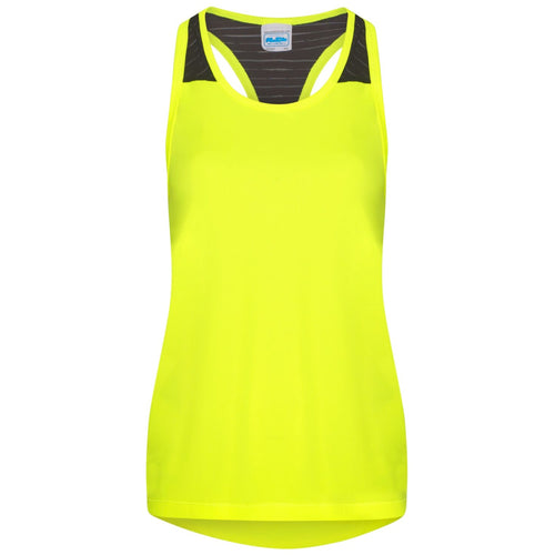 AWDis Just Cool Girlie Smooth Workout Vest JC027 Electric Yellow-Custom Teamwear