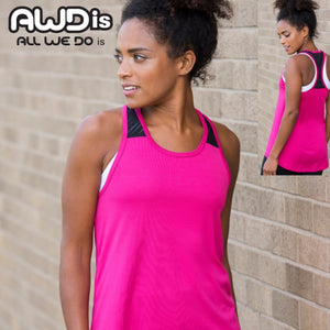 AWDis Just Cool Girlie Smooth Workout Vest JC027 Hot Pink-Custom Teamwear