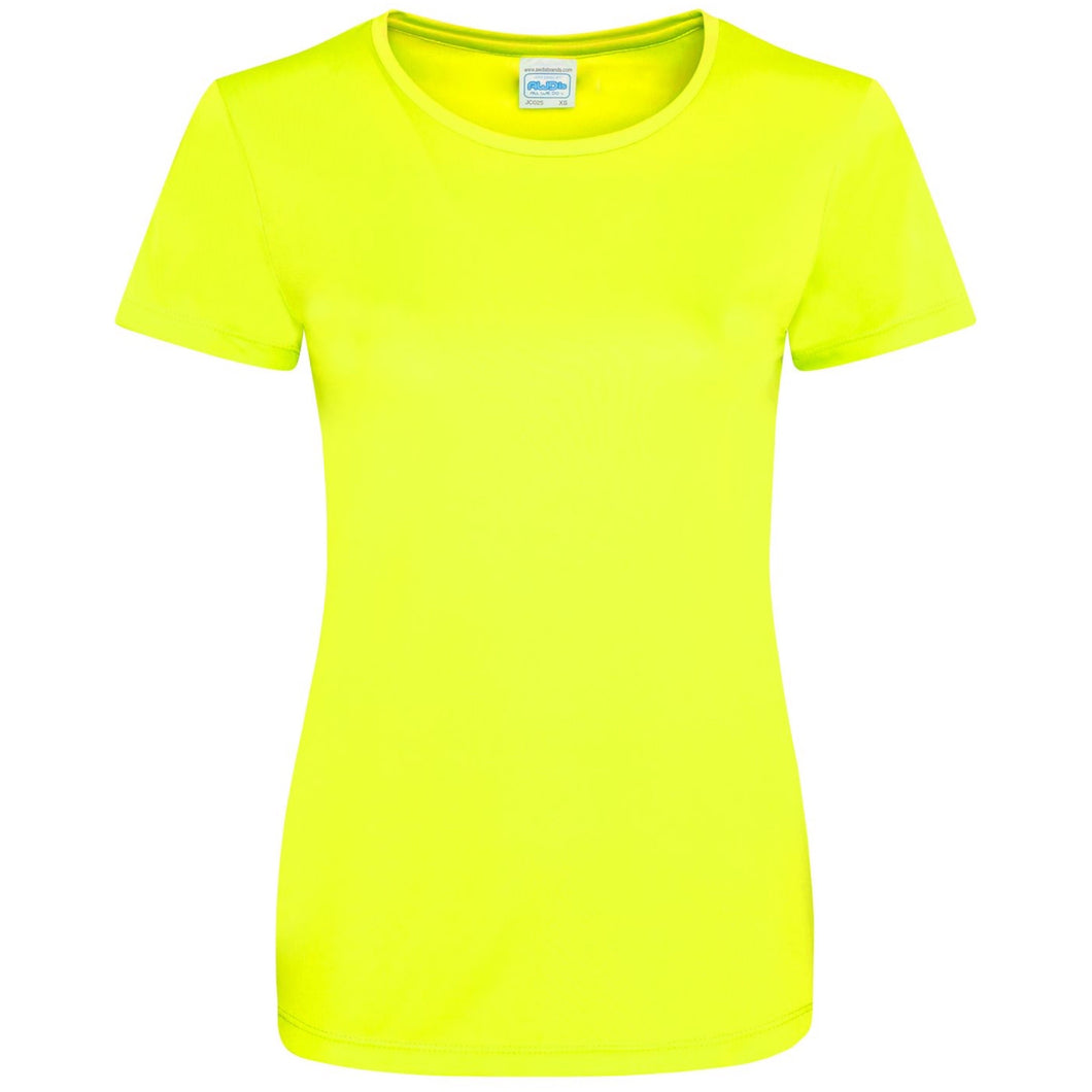 AWDis Just Cool Smooth 100% Polyester T-Shirt JC025 Electric Yellow-Custom Teamwear