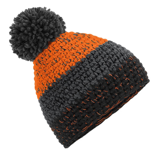 Beechfield Freestyle Ski Winter Bobble Hat BC436 Orange Grey-Custom Teamwear