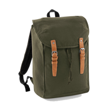 Load image into Gallery viewer, Quadra Vintage Canvas Backpack QD615 Embroidery Military Green-Custom Teamwear