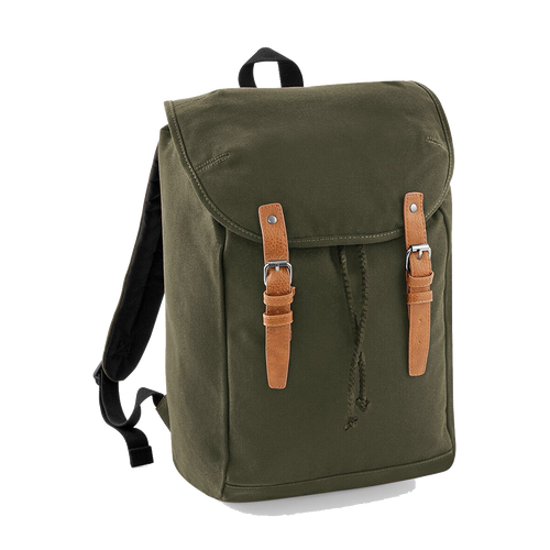 Quadra Vintage Canvas Backpack QD615 Embroidery Military Green-Custom Teamwear