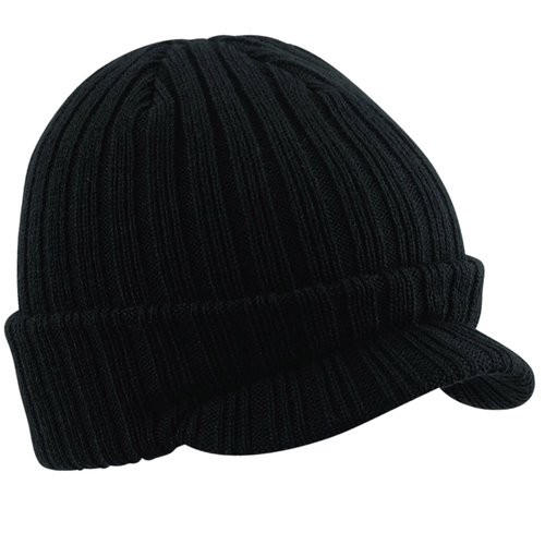 Beechfield Peaked Fashion Cap Hat Black BC448