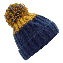 Load image into Gallery viewer, Beechfield Apres Ski Bobble Beanie Hat BC547 Oxford Navy/Mustard