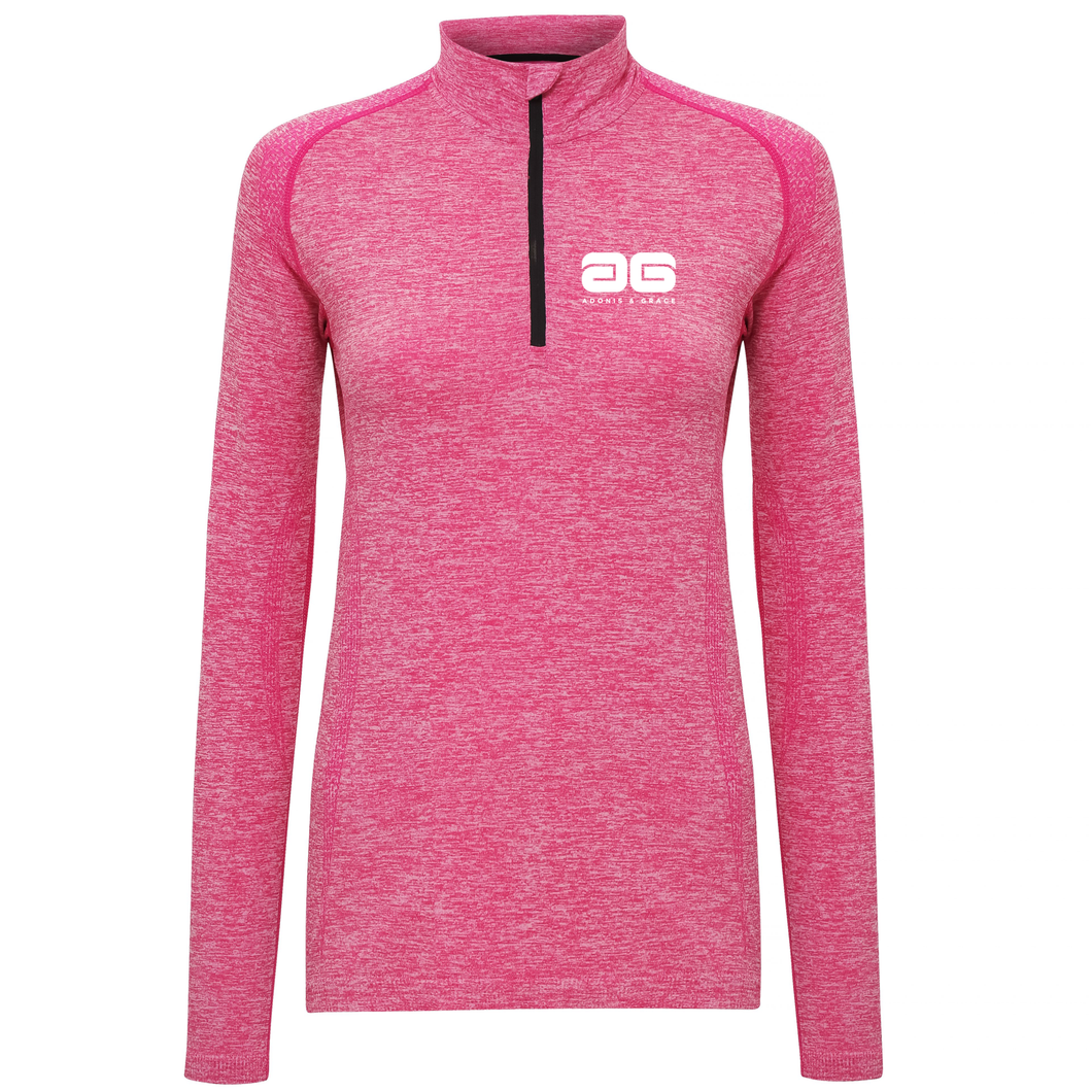 Adonis & Grace Womens Seamless Long Sleeve Zip Top Pink-Custom Teamwear