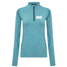 Load image into Gallery viewer, Adonis & Grace Womens Seamless Long Sleeve Zip Top Turquoise-Custom Teamwear