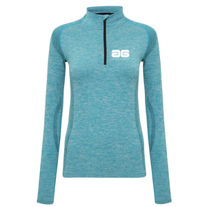 Adonis & Grace Womens Seamless Long Sleeve Zip Top Turquoise-Custom Teamwear