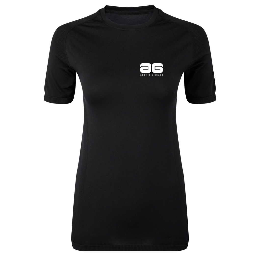 Adonis & Grace Womens Seamless Short Sleeve T-Shirt Black-Custom Teamwear