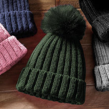 Load image into Gallery viewer, Adonis & Grace Luxury Verbier Pom Pom Beanie Black - BrandClearance