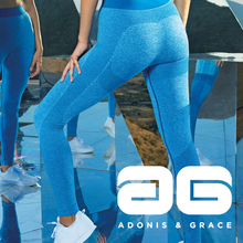 Load image into Gallery viewer, Adonis & Grace Ladies Seamless 3D Gym Leggings Sapphire Blue-Custom Teamwear