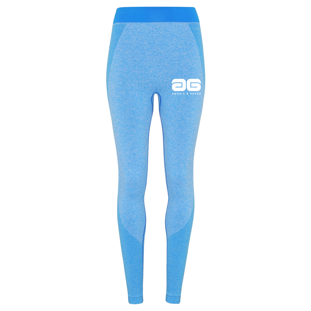 Adonis & Grace Ladies Seamless 3D Gym Leggings Sapphire Blue-Custom Teamwear