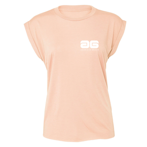 Adonis & Grace Flowy Muscle Gym Tee with Rolled Peach-Custom Teamwear