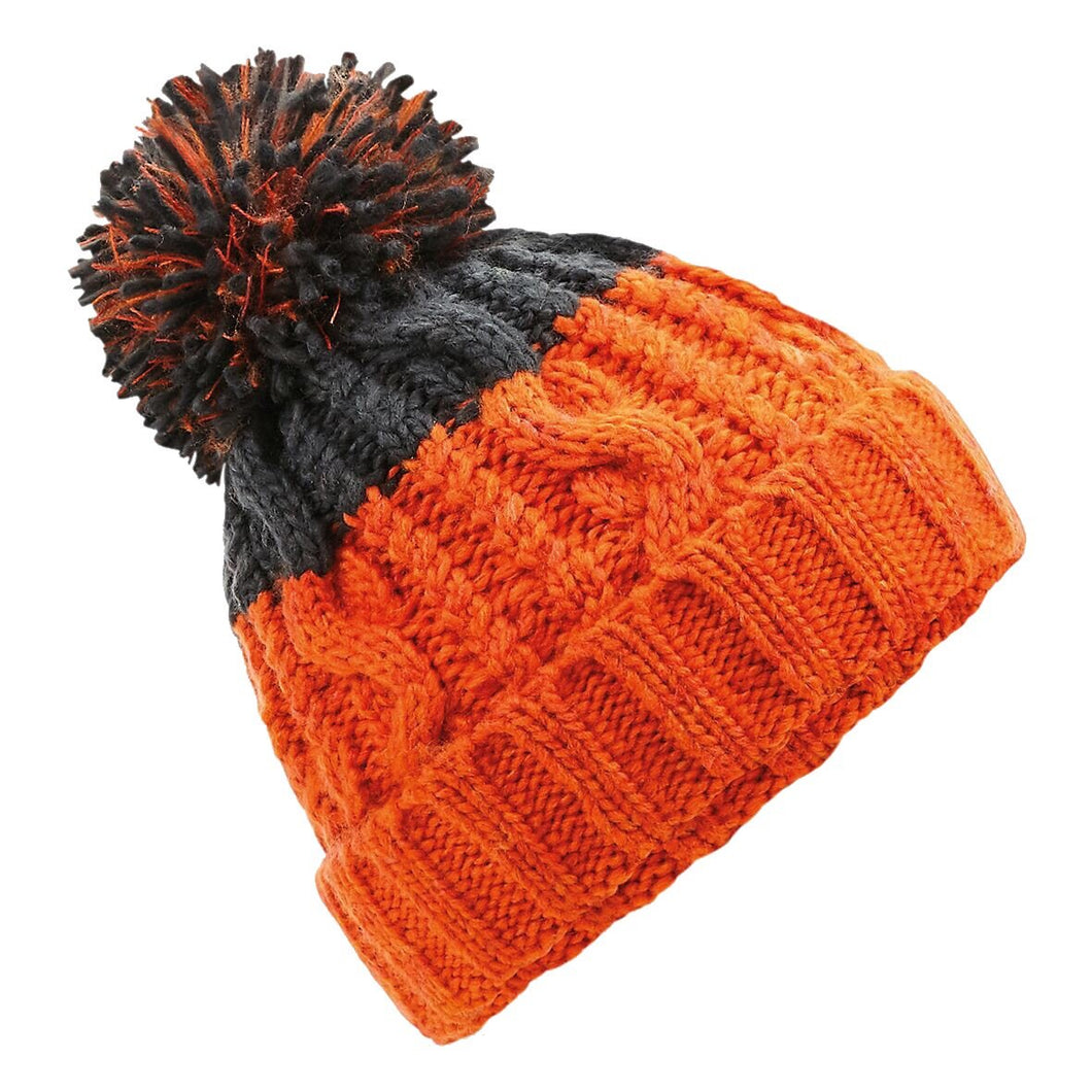 Beechfield Apres Ski Bobble Beanie Hat BC547 Orange Graphite