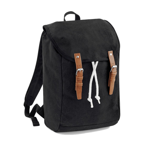 Quadra Vintage Canvas Backpack QD615 Embroidery Black-Custom Teamwear