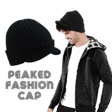 Load image into Gallery viewer, Beechfield Peaked Fashion Cap Hat Black BC448