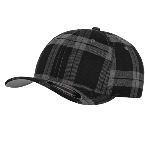 Flexfit Cap Tartan Plaid Check Fashion YP042 Black/ Grey-Custom Teamwear
