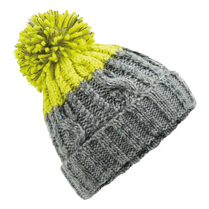 Beechfield Apres Ski Bobble Beanie Hat BC437 Light Grey Citron-Custom Teamwear
