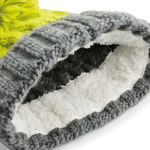 Beechfield Apres Ski Bobble Beanie Hat BC547 Light Grey Citron
