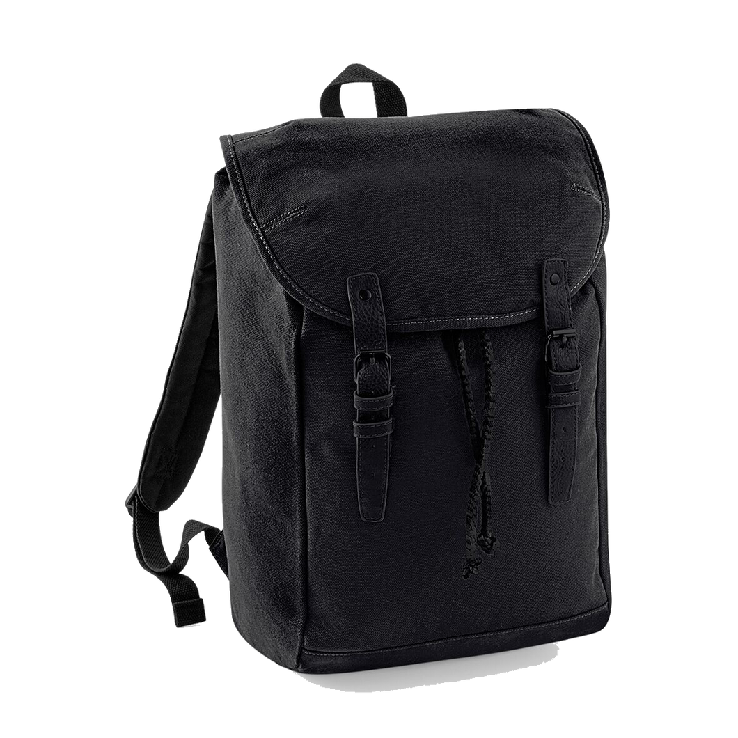 Quadra Vintage Canvas Backpack QD615 Embroidery Black/ Black-Custom Teamwear